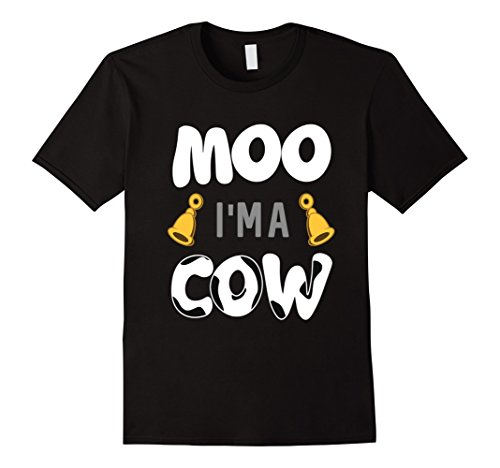Men's FUNNY MOO IM A COW T-SHIRT Halloween Costume Large Black (Cute Brother And Sister Costumes Halloween)