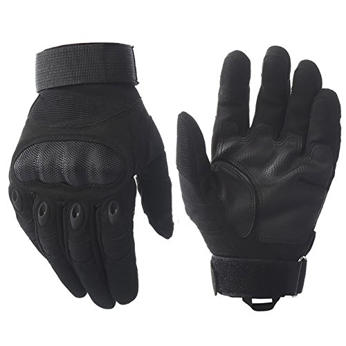 Parkside wind Touch Screen Hard Knuckle Tactical Full Finger Gloves for Army Military Outdoor Motorcycle Cycling Racing Hunting Hiking Airsoft Paintball Shooting Work (Black, S)