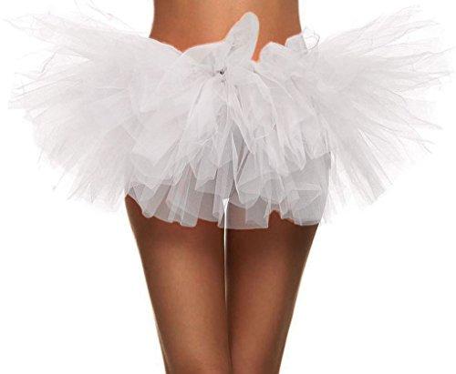 Women's 5 Layered Short Fluffy Tutu Skirt for Fun Runners White ()