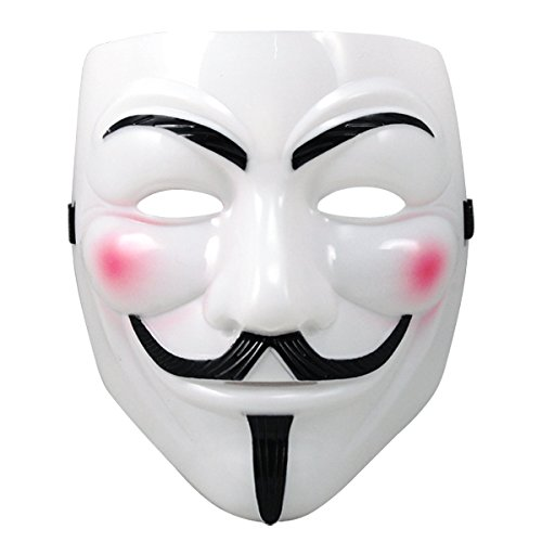 Veroda White V-Shape Vendetta Anonymous Guy Fawkes Halloween Face Mask