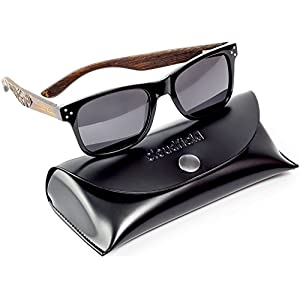CLOUDFIELD Wayfarer Polarized Sunglasses For Men - Wood Temple 100% UV Blocking Lenses + Case