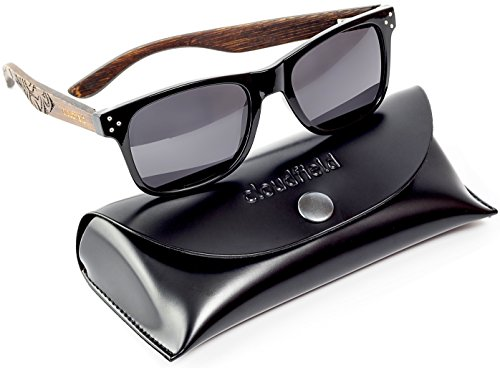 CLOUDFIELD Wayfarer Polarized Sunglasses For Men - Wood Temple 100% UV Blocking Lenses + Case
