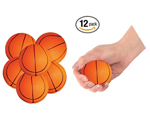 """Play Kreative Basketball Stress Balls – 12 Mini 2.5"""" Sports Squeeze Balls – Great Sports Party Favors"""