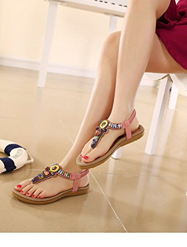 Vogstyle Kvinner Sommer Böhmen Flate Sandaler Elastisk T-stropp Thong Sandaler Hæler Stil 2-rosa