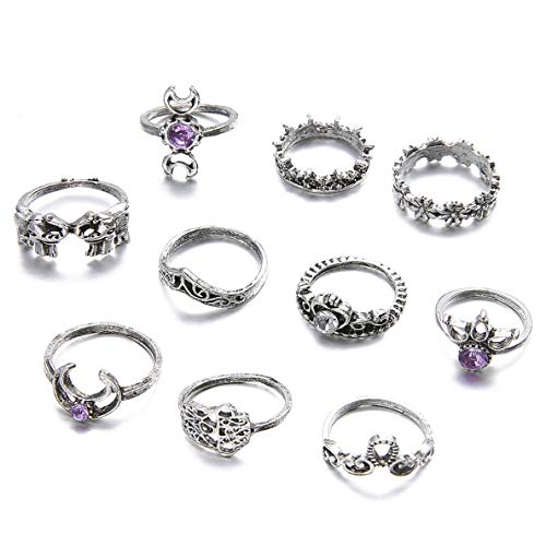 Zealmer Gudukt Knuckle Ring Set Vintage Silver Crown Unicorn Elephant Yoga Wave Religious Joint Knuckle Rings