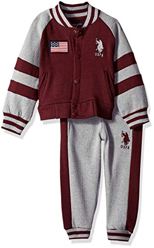 U.S. Polo Assn. Boys' Toddler Fleece Jog Set, no no Attached Hood Light Heather Gray 4T