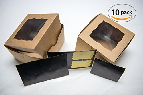 Small Brown Bakery/Pastry Boxes - 10 Pack 4x4x2.5