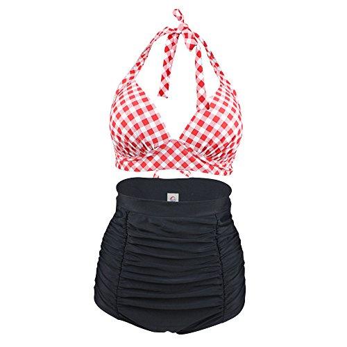 KingBra Women's Halter High Waist Bikini Swimsuit, Plaid Printing Bathing Suits 2 pieces