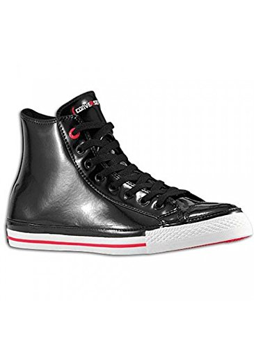 Converse Chuck Taylor All Star RED Black Patent Leather Red Stripe and Sole Hollywood Hi 103673 (Men