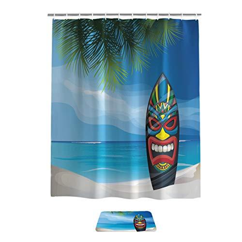 Tiki Bar Decor Bathroom Set, Fabric Bathroom Shower Curtain With Rug Mat Shoes Rub Set of 2 Items, Tiki Warrior Mask Design Surfboard on Ocean Beach Abstract Landscape Surf,72x84in curtain,18x30in mat