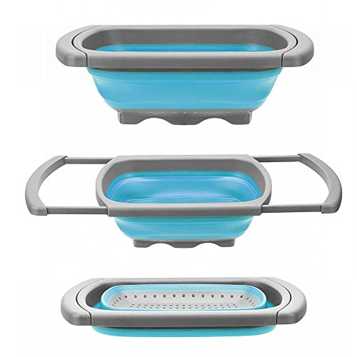 Glotoch Kitchen Collapsible Colander, Over The Sink Strainer With Steady Base For Standing, 6-quart Capacity, Dishwasher-Safe,BPA Free (Blue&Grey)