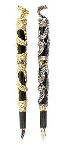 - Sipliv 2PCS Fountain pen Pen Set, 3D Snake Heavy Metal Pen, Medium Point(0.5MM), Gold & Gray