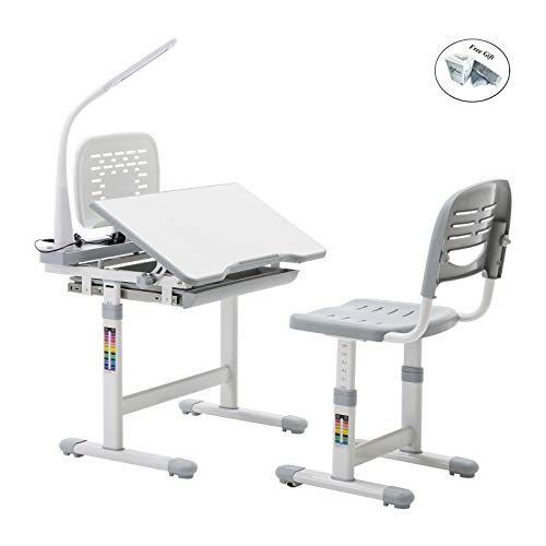 Eight24hours Grey Adjustable Children's Study Desk Chair Set Child Kids Table with LED lamp Only -