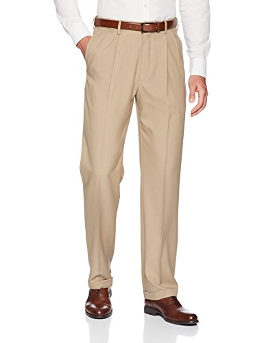 Haggar Men's Premium Comfort Classic Fit Pleat Expandable Waist Pant, Medium Khaki, 38Wx30L