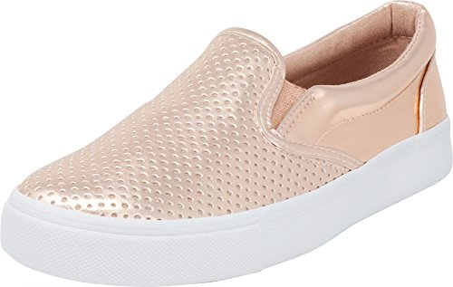 Cambridge Select Women's Round Toe Perforated Laser Cutout Slip-On Flatform Fashion Sneaker,6.5 M US,Dark Penny Pu/White Sole