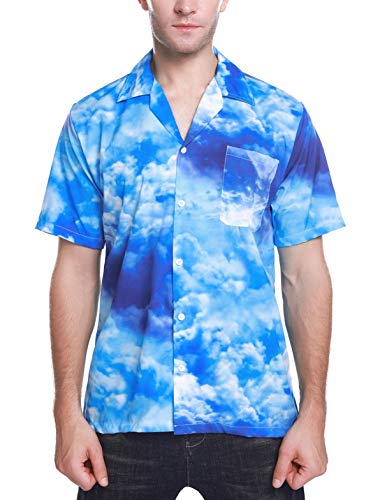 Sykooria Men's Hawaiian Shirt Blue Sky Print Button Down Casual Aloha Shirt Short Sleeve Beach Shirts Adults