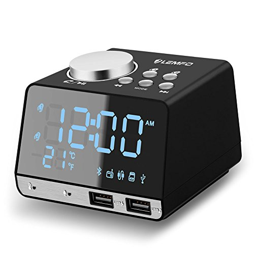Clock Radio, LEMFO Alarm Clock FM Radio Bluetooth Speaker Digital Dual Snooze Clock  USB Charging Port Temperature LED Display Bedroom Dimmer with Battery Backup