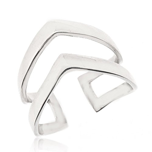 (SOVATS Double Chevron Ring For Women 925 Sterling Silver Rhodium Plated - Simple, Stylish &Trendy Nickel Free Ring, Size 7)