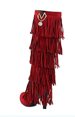 YE Botte Aiguille Femme Chaussure Hiver Frange Haut Talon 88wrxUBRq