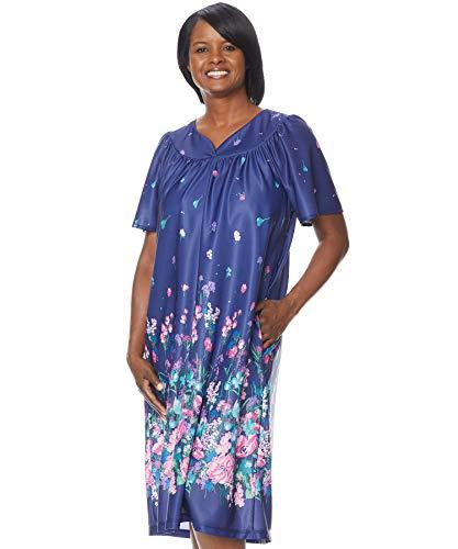 AmeriMark Lounger House Dress with Pockets for Women Muu Muu Nightgown Plus - 2 Pockets Zipper