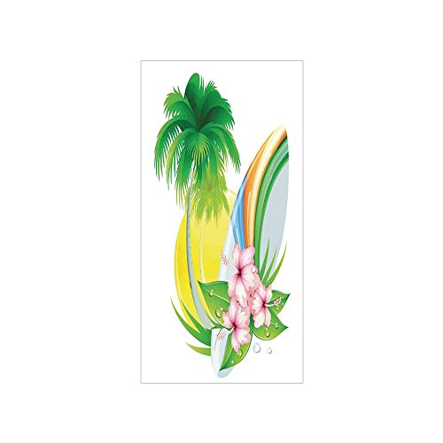 - 3D Decorative Film Privacy Window Film No Glue,Surf,Illustration of Funky Summer Insignia with Palms and Surfboard Tidal Bore Print,Green Yellow Pink,for Home&Office