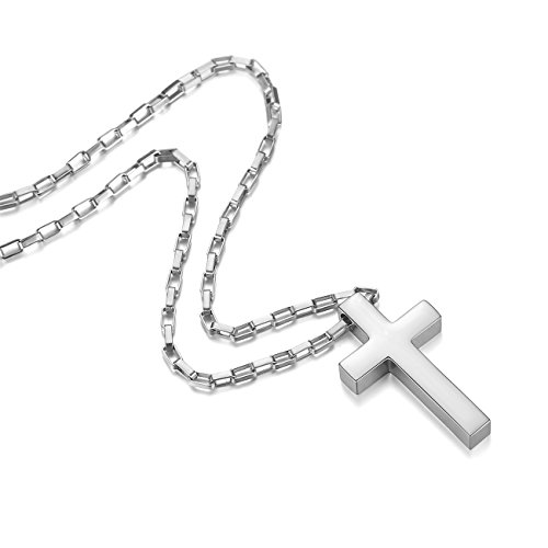 REVEMCN Jewelry Stainless Steel Simple Cross Pendant Necklace fo Men Women, 20-28'' Long Box Chain (Silver Tone: 24'' Chain)