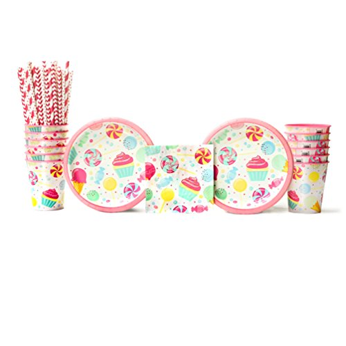 Candy Bouquet Birthday Party Supplies Pack for 16 Guests: Straws, Dessert Plates, Beverage Napkins, and Cups