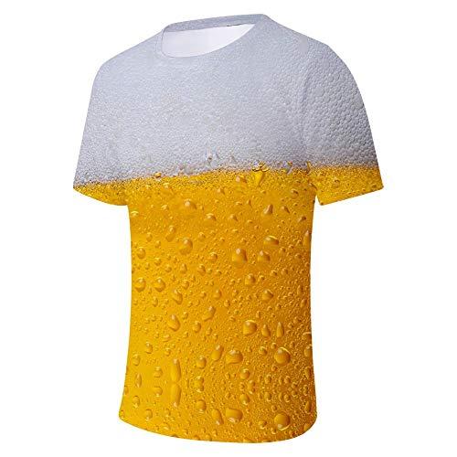 (Men's Summer Beer Festival 3D Printing O-Neck Short Sleeve Blouse Tops Gold)
