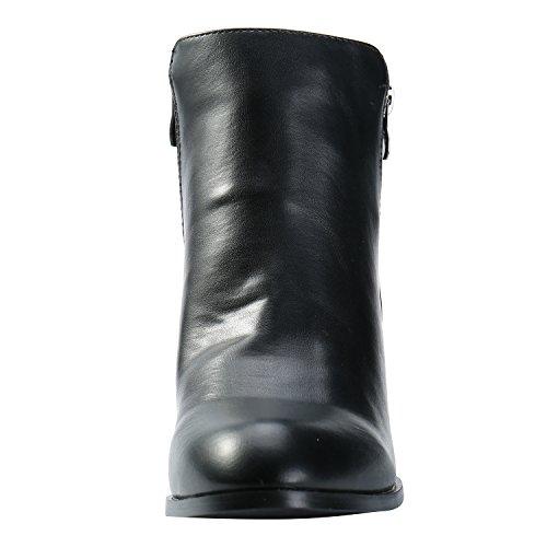 Alexis Leroy Damen Reißverschluss Stiefel Chelsea Ankle Boots mit Absatz Schwarz