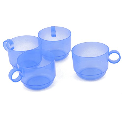 uxcell Plastic Home Cafe Circle Handle Portable Water Tea Milk Coffee Storage Drinking Cup Mug 4pcs Blue