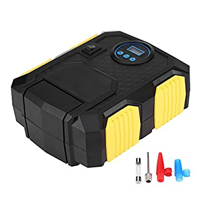 Portable Electric Pump, EBTOOLS 150 PSI 12V Digital Air Compressor Pump Tire Inflator with LED Light, Extra Nozzle Adaptors and Fuse for Car Bike Tires from EBTOOLS