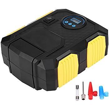 Portable Electric Pump, EBTOOLS 150 PSI 12V Digital Air Compressor Pump Tire Inflator with LED Light, Extra Nozzle Adaptors and Fuse for Car Bike Tires