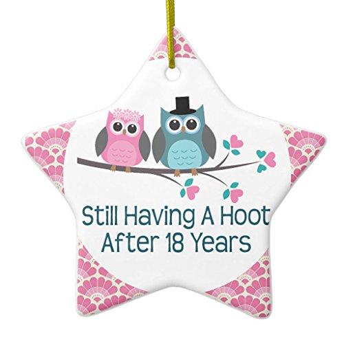 Zazzle 18th Anniversary Owl Wedding Anniversaries Gift Ceramic Ornament Star