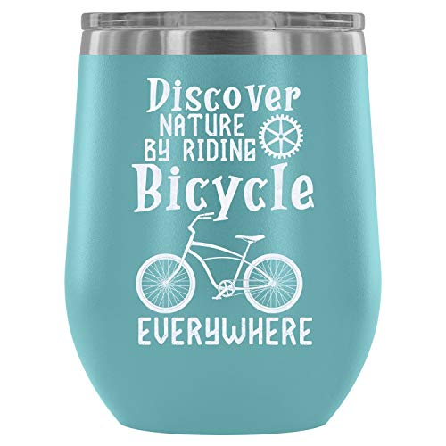 Stainless Steel Tumbler Cup with Lids for Wine, Discover Nature By Riding Bicycle Everywhere Wine Tumbler, Cool Rider Vacuum Insulated Wine Tumbler (Wine Tumbler 12Oz - Light Blue) ()