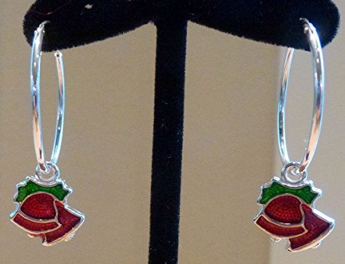 Two Earrings in One: 25mm Sterling Silver Endless Hoop Earrings with Two Dangling Christmas Bell Charms. Remove the Charms to Wear all (Dangling Bell Ring)