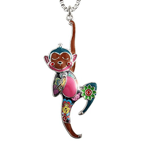 Luckeyui Colorful Monkey Charm Necklace for Women Cute Animal Pendants Girls Keychain Jewelry Gifts]()