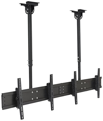 (Displays2go TV Mount with Ceiling Suspension, Steel, Aluminum, Adjustable Height - Black (LPGPCLDB))