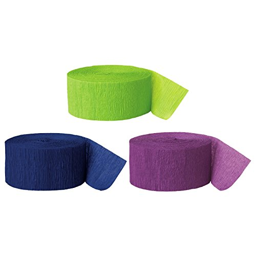 Andaz Press Crepe Paper Streamer Hanging Party Decorations Kit 240Feet Kiwi Green Navy Blue Purple 1Pack 3Rolls Peacock Mermaid Colored Wedding Baby Bridal Shower Birthday Supplies