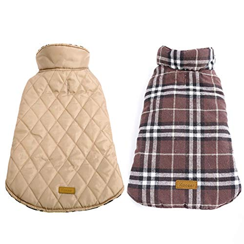 (Kuoser Dog Coats Dog Jackets Waterproof Coats for Dogs Windproof Cold Weather Coats Small Medium Large Dog Clothes Reversible British Plaid Dog Sweaters Pets Apparel Winter Vest for Dog Brown XXL)