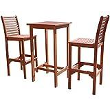 VIFAH V495SET1 Dartmoor Outdoor 3 Piece Wood Bar Set With Bar Table And 2 Bar  Chairs