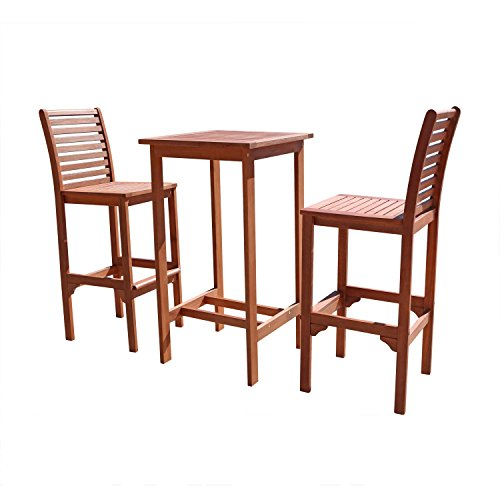 VIFAH V495SET1 Dartmoor Outdoor 3-Piece Wood Bar Set with Bar Table and 2 Bar Chairs -