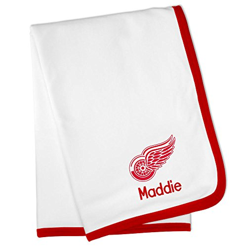 Personalized Detroit Red Wings Baby Blanket (Officially Licensed) Ultra Soft, Warm Comfort | Receiving Swaddle for Newborn Boy or Girl | Portable, Stroller Friendly