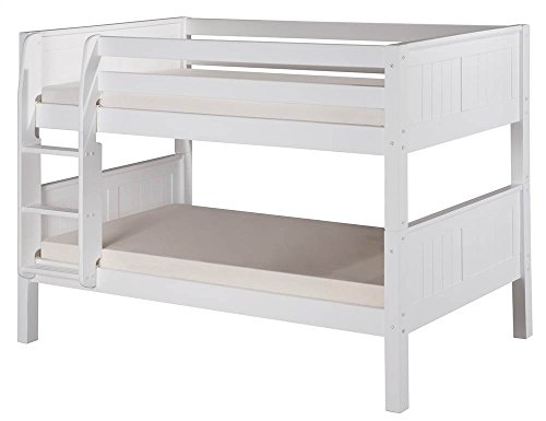 Camaflexi Panel Style Solid Wood Low Bunk Bed, Twin-Over-Twin, Side Attached Ladder, White