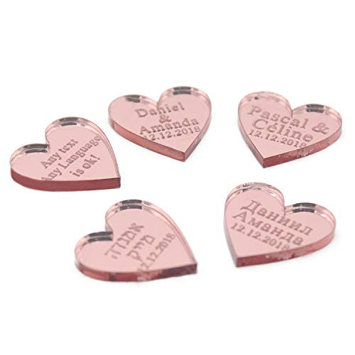 Miao Express 50pcs Personalized Engraved Name Card Mirror/Clear MR & MRS Surname Love Heart Wedding Table Decoration Favors Customized Size,Rose Pink,40mm