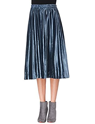 Clarisbelle Women Pleated Velvet Skirt Midi Skirt Premium Metallic Shiny Shimmer Accordion Elastic High Waist Skirt