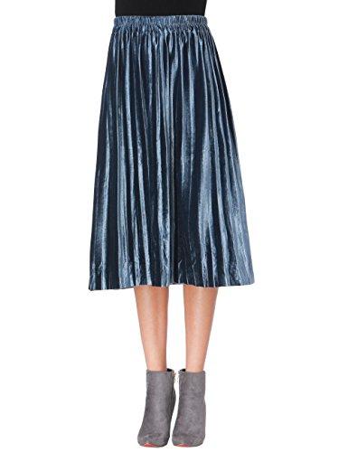 Clarisbelle Women Pleated Velvet Skirt Midi Skirt Premium Metallic Shiny Shimmer Accordion Elastic High Waist Skirt