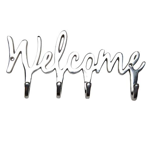 Four Rack Key Hook - Comfify Welcome Aluminium Key Holder for Wall - Metal Key Hook - Wall Mounted Key Hanger - Key Organizer Key Chain Hooks - Decorative Entryway Organization - Key Rack Aluminum with 4 Hooks - 10.5