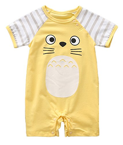 stylesilove Adorable Unisex Baby Totoro Short Sleeve Cotton Romper (59/3-6 Months, Yellow)