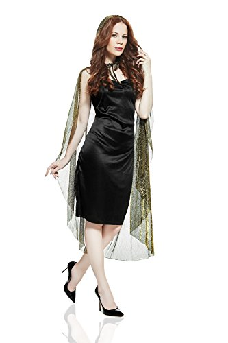 Adult Women Witch Costume Dark Fairy Halloween Cosplay Role Play Hood Dress Up (Small/Medium, Black, (Fairy Tale Ball Costume Ideas)
