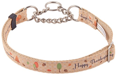Country Brook Design Happy Thanksgiving Grosgrain Ribbon Half Check Dog Collar - Large